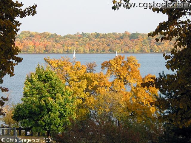 Lake Harriet with Sailboats in the Fall