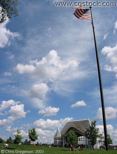 Lake Harriet Bandshell and American Flag