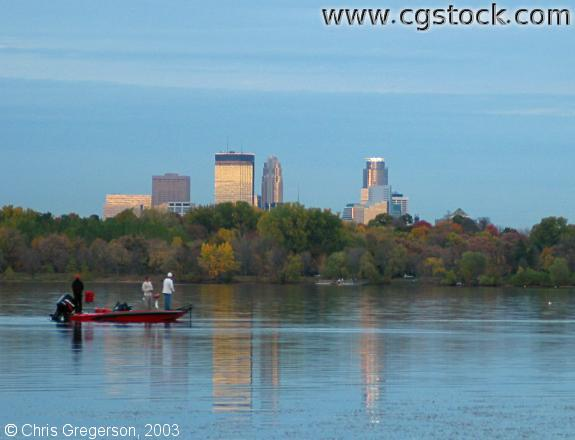 Boat and Skyline from Lake Harriet