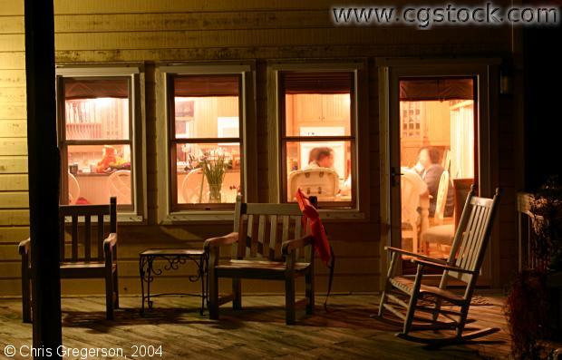 stock photo - Outside the Kitchen Windows at Night