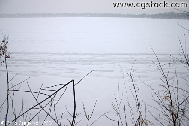 Lake Harriet Covered in Ice and Snow