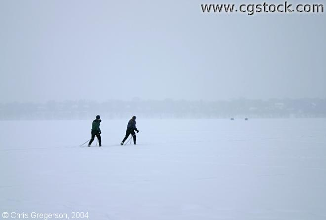 Skiing on Frozen Lake Harriet