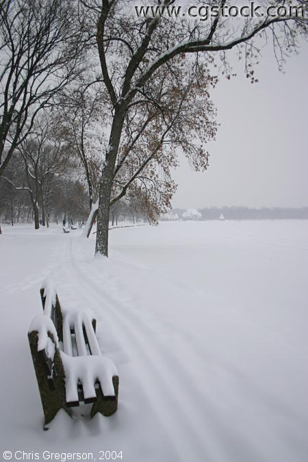 Snow-Covered Bench by Lake Harriet