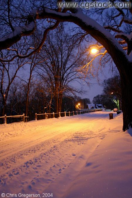 Street Covered in Snow, After Dark