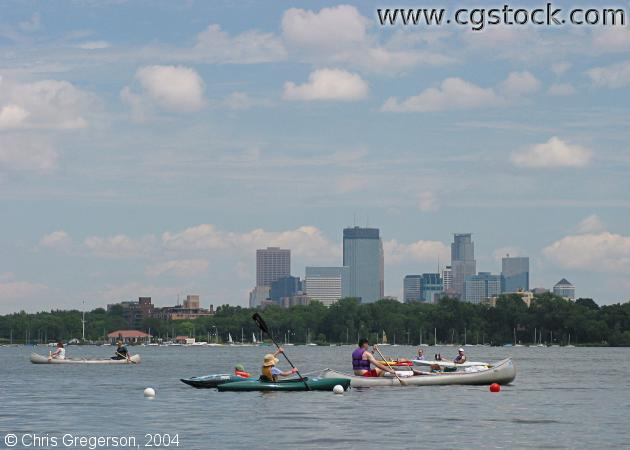 Kyaks and Canoes on Lake Calhoun