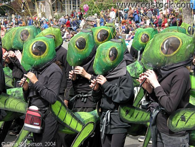 & stock photo - Kids in Cricket Costume May Day Parade