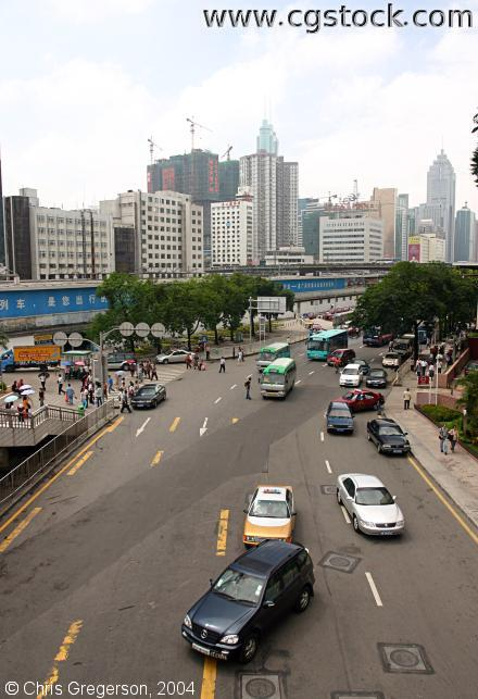 Traffic on Jianshe Road, Shenzhen, China