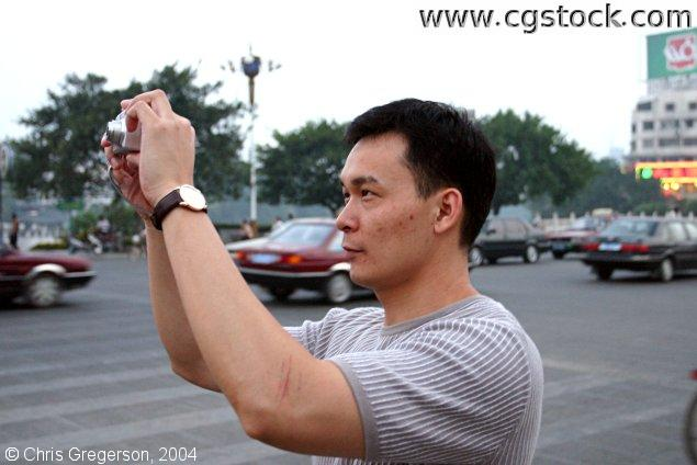 Taking a Picture with a Digital Camera, Guilin, China