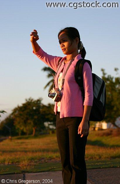 Asian Woman Watching Sunrise, Clark Air Base