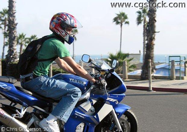 Man on a Motorcycle, PCH, Oceanside, California