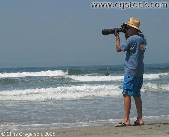 Photographer on Beach, Oceanside