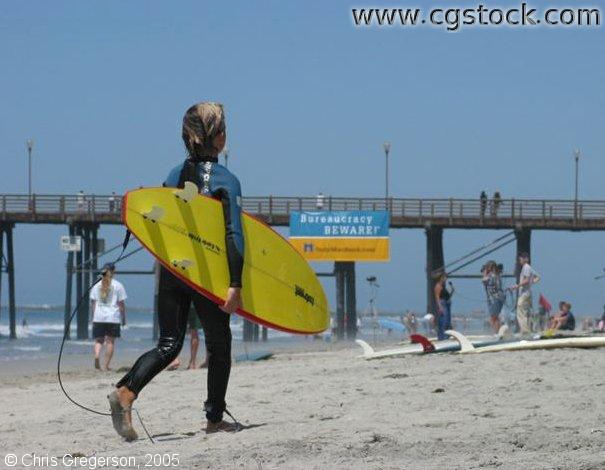 Boy with Surfboard, Oceanside, California