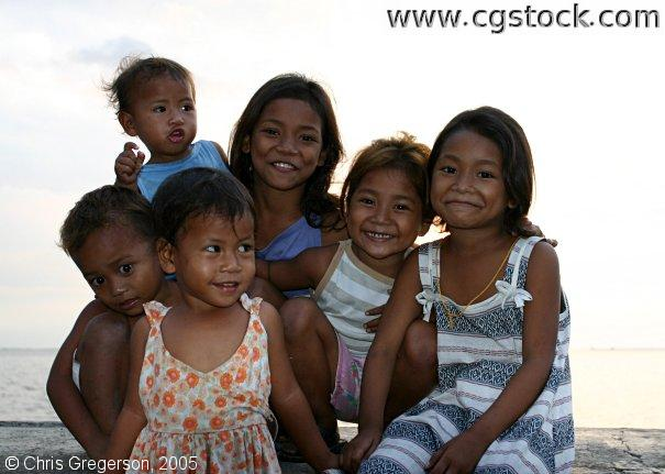 Filipino Children by Manila Harbor