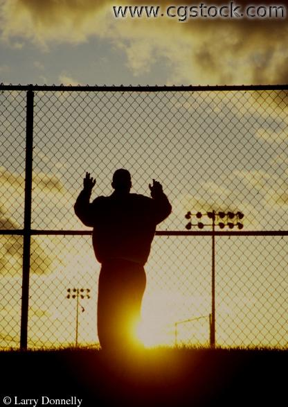 Silhouette of my son David at Parkers Lake Ball field