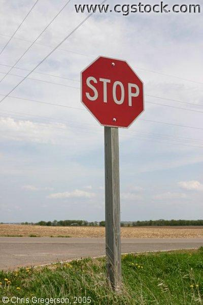 Stop Sign in Midwest Farmland