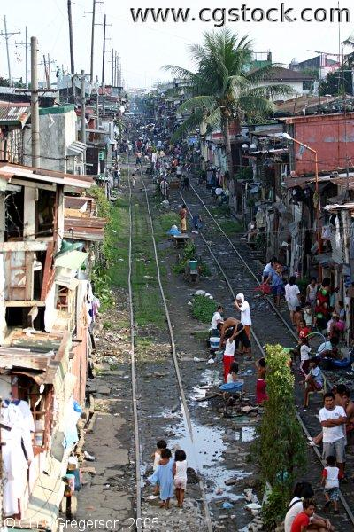 People Living Along Railroad Tracks in Manila