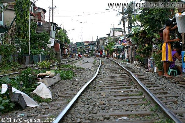 Railroad Surrounded by Housing, Manila, the Philippines