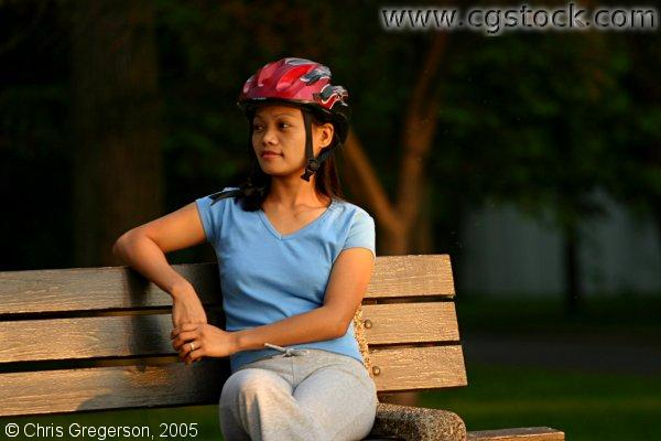 Young Woman Resting During a Bike Ride