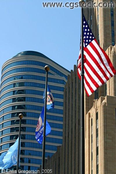 Office Buildings and Flags, Downtown Minneapolis