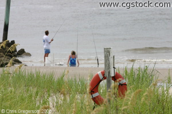 Couple Fishing on Bald Head Island, NC