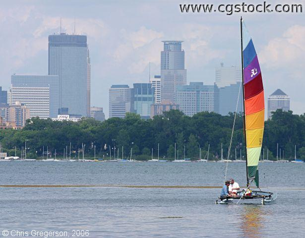 Rainbow Sailboat and the Minneapolis Skyline