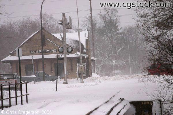 Rural Wisconsin Train Station in Winter Snowstorm