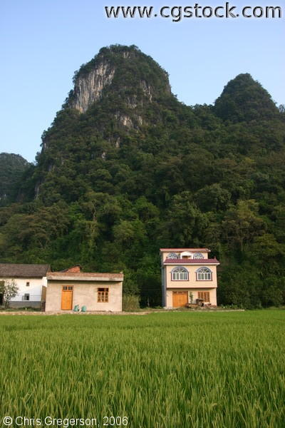 Rural Chinese Farm Among Kurst Mountains