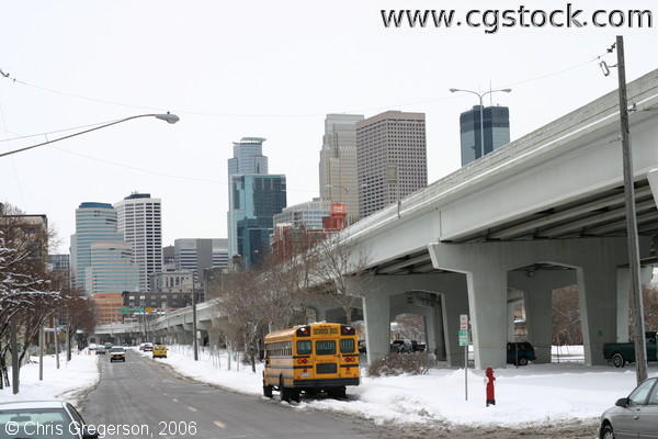 Downtown Minneapolis Buildings and Elevated Freeway