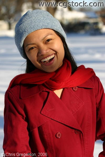 Young Woman Laughing in Winter