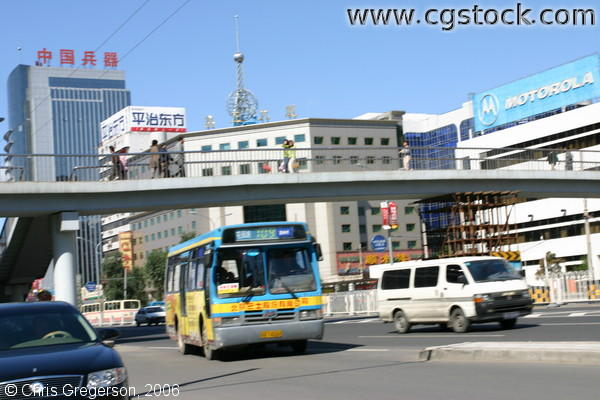 Beijing Traffic Scene, Bus and Footbridge Overpass