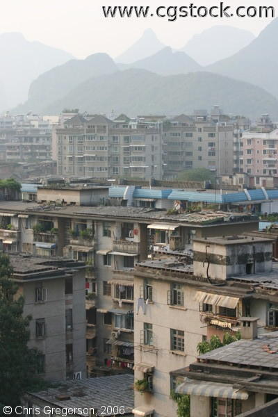 Apartment Buildings and Mounttains in Guilin, China