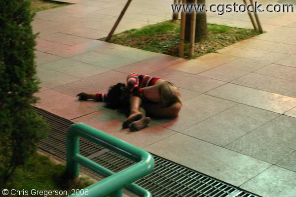 Person Sleeping on the Street, Guilin, China