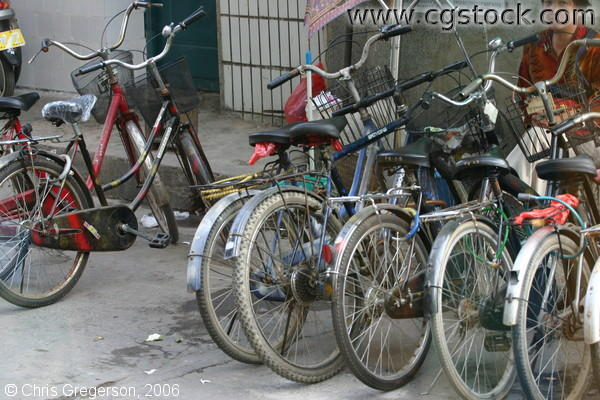 Parked Bikes on Sidewalk, Guilin, China