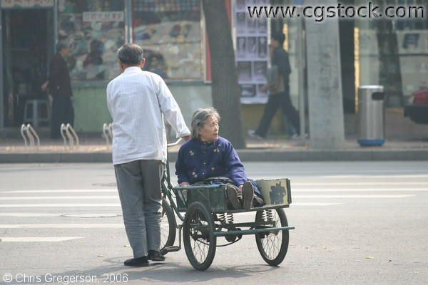 Man Carrying Old Woman, Bicycle Cart, Beijing, China