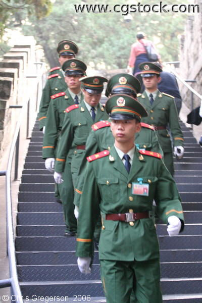 Chinese Soldiers Descending Stairs