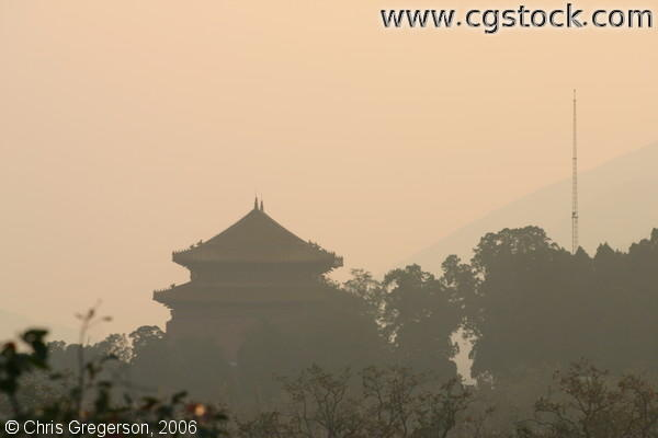 Silhouette of Pagoda and Trees at Sunset