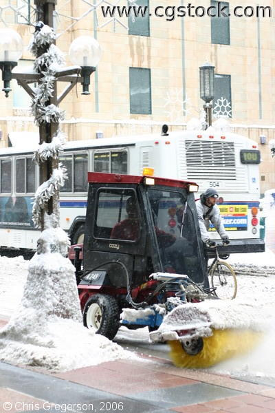 Snow Sweeper and City Bus on Nicollet Mall