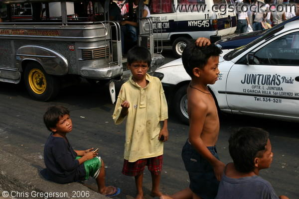 Street Children Begging for Money, Manila.