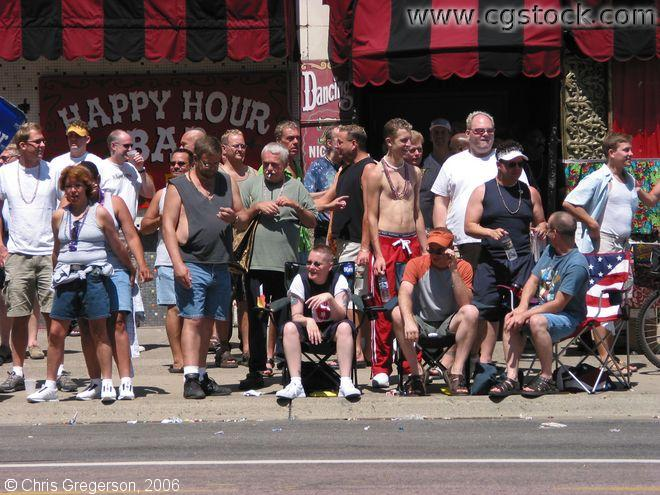 Crowd in front of the Gay 90s Bar