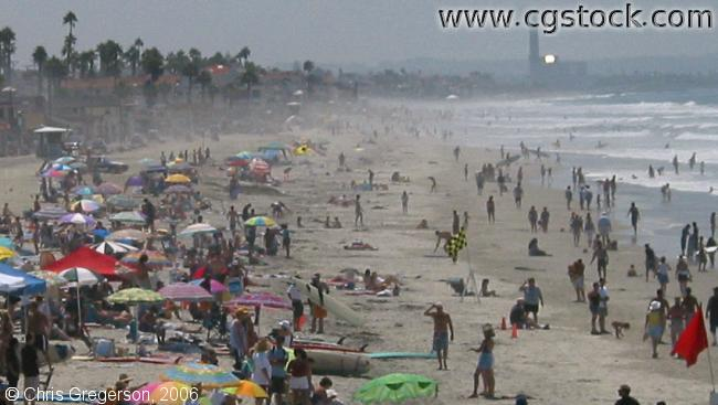 Crowded Beach in Oceanside, California