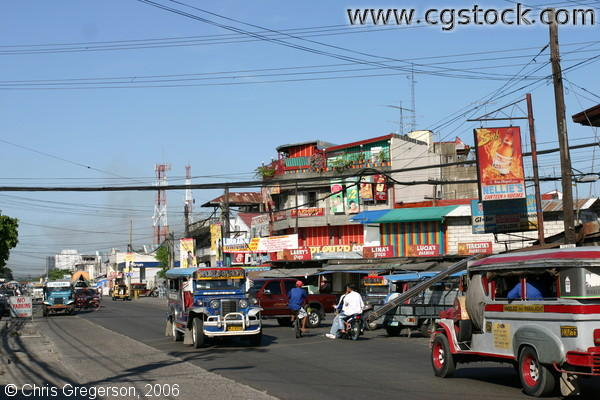 Typical Busy Street in the Angeles City, Pampanga, Philippines