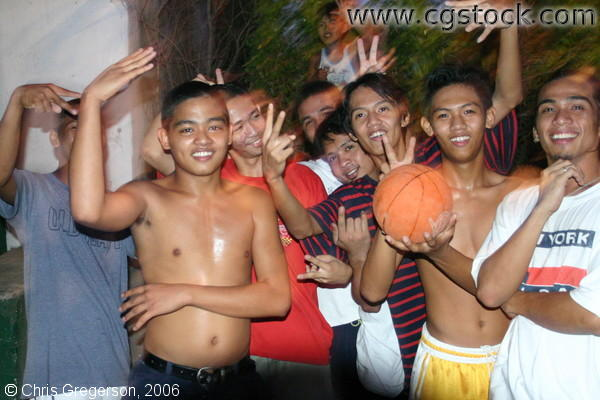 Peace Sign from a Group of Teenage Basketball Players in Balibago, Angeles City, Philippines
