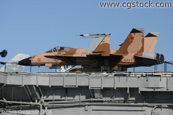 Navy Jet Fighter on Aircraft Carrier
