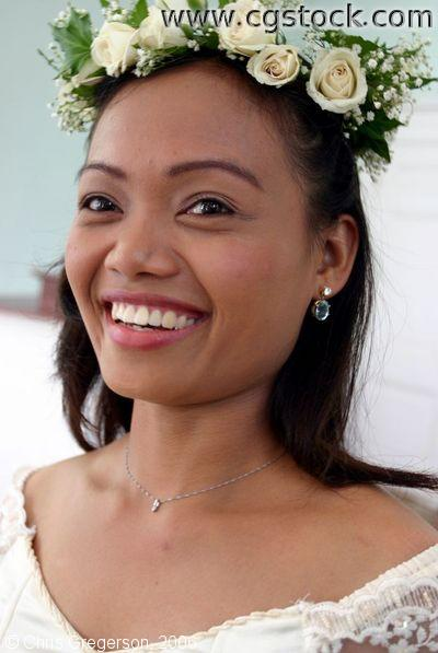 Portrait of Bride Wearing Flowers in her Hair