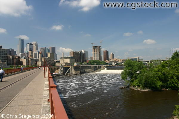Mississippi River, St. Anthony Falls, and the Minneapolis Skyline