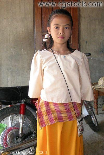 Young Girl in Traditional Dress Ilocos Norte the Philippines