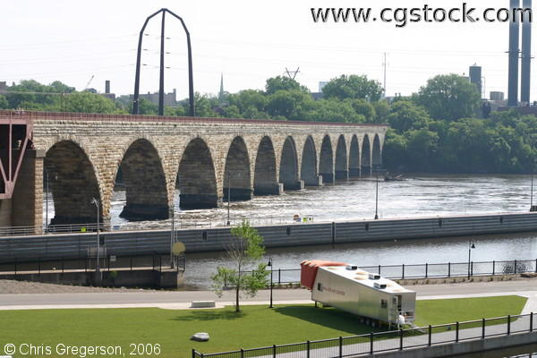 Mississippi River and the Stone Arch Pedestrian Bridge