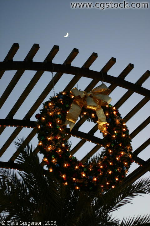 Christmas Wreath and Cresent Moon, El Paseo, Palm Desert, California