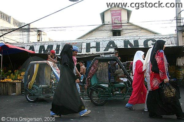 Muslims Wearing Headscarfs and Chadors or Jilbab in Quiapo