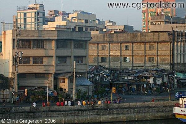 Buildings and Shanties overlooking Pasig River in Tondo, Manila